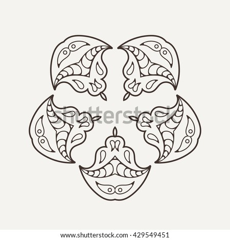 Vector mandala. Mehndi lace tattoo. Oriental weave. The circular pattern.