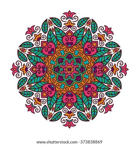 Vector mandala ornament. Round floral pattern. Hand drawn decorative element. - stock vector
