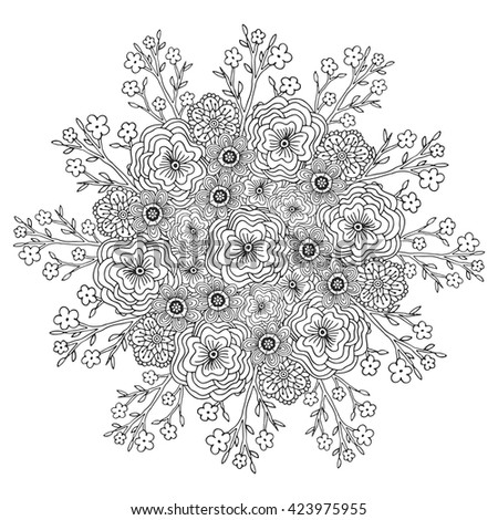 Round Element Coloring Book Black White Stock Vector