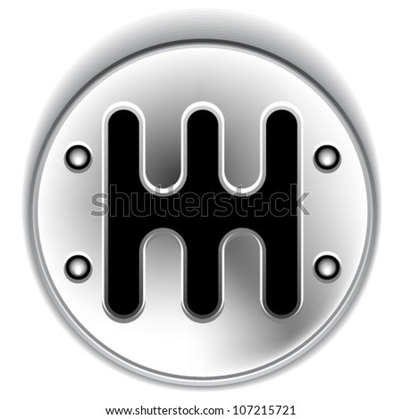 vector manual chrome gear shifter - stock vector