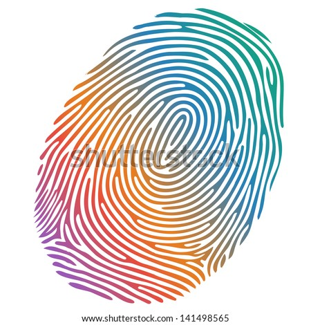 Vector many-coloured fingerprint on white background - stock vector