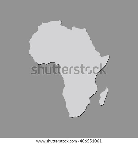 Vector map Africa. Gray Isolated vector Illustration. On Grey background. With shadow. EPS 10 Illustration. - stock vector