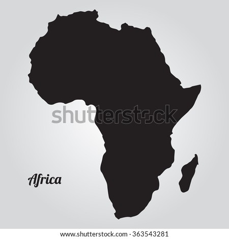 Vector map Africa. Gray Vector Illustration. Isolated vector Illustration. Black on Gradient background. EPS Illustration with an inscription Africa. - stock vector