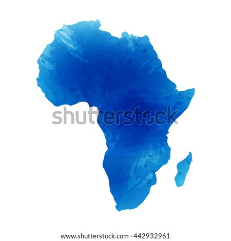 Vector map Africa. Isolated vector Illustration. Watercolor effect. EPS 10 Illustration. - stock vector