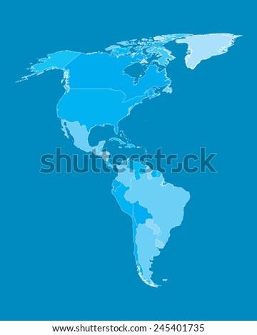 Vector Map - America Countries Cyan - stock vector