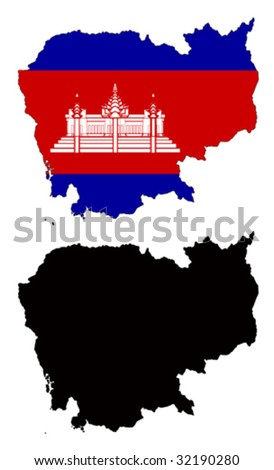 vector map and flag of Cambodia with white background. - stock vector