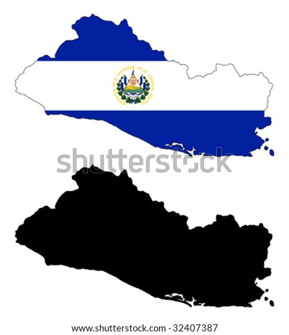 vector map and flag of El Salvador with white background.