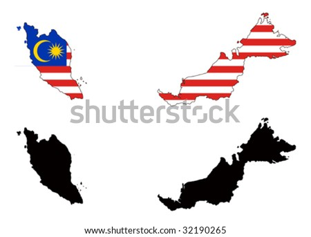 vector map and flag of Malaysia with white background.