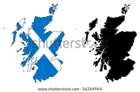 vector map and flag of scotland. - stock vector