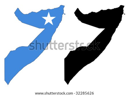 vector map and flag of Somalia with white background. - stock vector