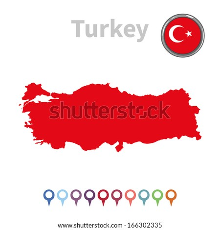 vector map and flag of Turkey - stock vector