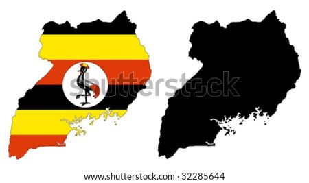 vector map and flag of Uganda with white background. - stock vector