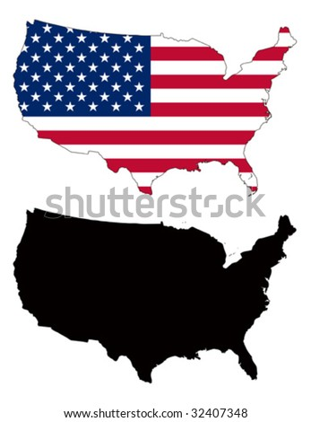 vector map and flag of United States with white background. - stock vector