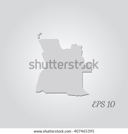 Vector map Angola. Isolated vector Illustration. Gray on Gradient background. With shadow. EPS 10 Illustration with an inscription. - stock vector