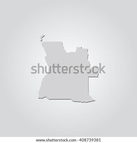 Vector map Angola. Isolated vector Illustration. Gray on Gradient background. With shadow. EPS 10 Illustration. - stock vector
