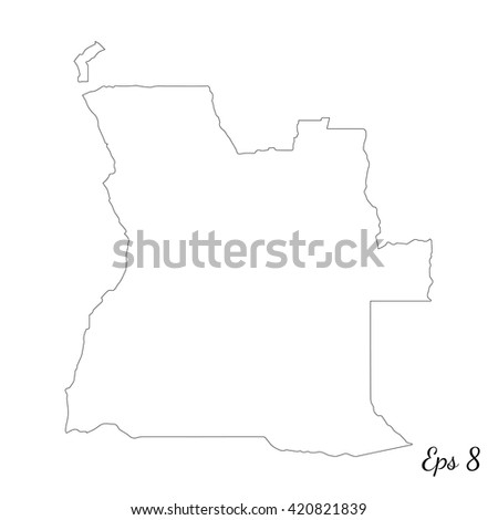Vector map Angola. Outline map. Isolated vector Illustration. Black on White background. EPS 8 Illustration. - stock vector