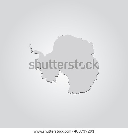 Vector map Antarctica. Isolated vector Illustration. Gray on Gradient background. With shadow. EPS 10 Illustration. - stock vector