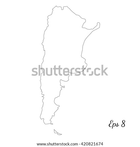 Vector Map Argentina Outline Map Isolated Stock Vector - Argentina map black and white