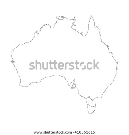 Vector map Australia. Outline map. Isolated vector Illustration. Black on White background. EPS 8 Illustration. - stock vector
