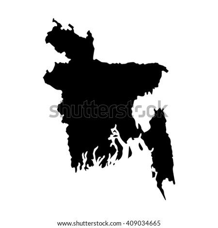 Vector map Bangladesh. Isolated vector Illustration. Black on White background. EPS 8 Illustration. - stock vector