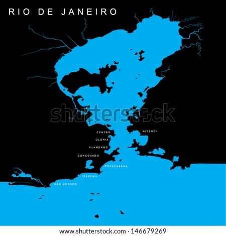 Vector Map - Bay of Rio de Janeiro - Brazil - stock vector