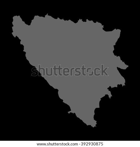 Vector map Bosnia & Herzegovina. Gray on black background. EPS Illustration. - stock vector