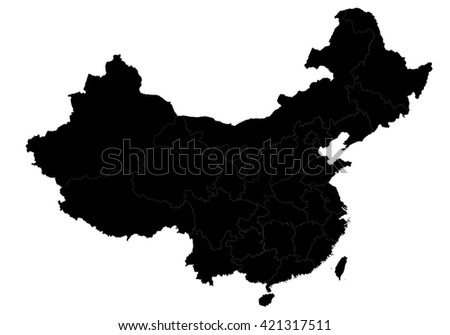 Vector map-china country on white background. - stock vector