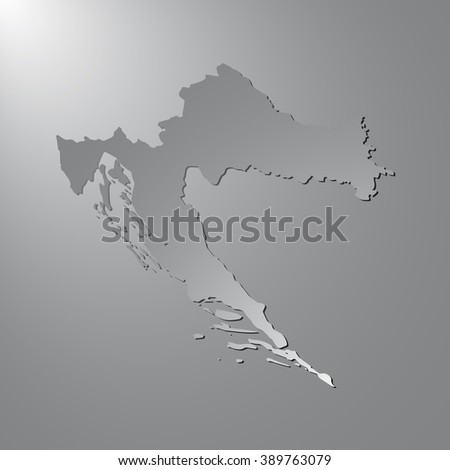 Vector map Croatia. Gray background with gradient. Isolated vector Illustration. Gray on Gradient background. With shadow. EPS Illustration. - stock vector