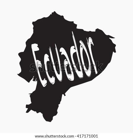 Vector map Ecuador. Gray Isolated vector Illustration. On Grey background. Typography design. EPS 8 Illustration. - stock vector