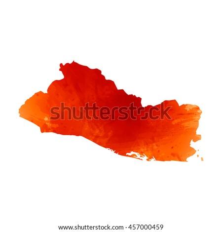 Vector map El Salvador. Isolated vector Illustration. Orange watercolor effect. EPS 10 Illustration. - stock vector