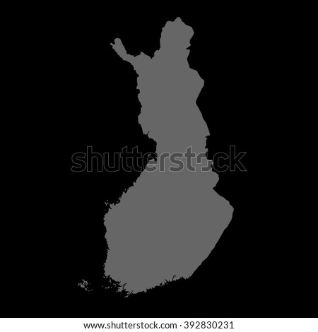 Vector map Finland. Gray on black background. EPS Illustration.