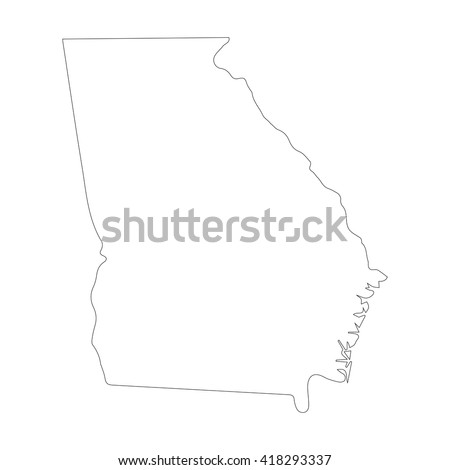 Vector Map Georgia Outline Map Isolated Stock Vector - Ga map vector