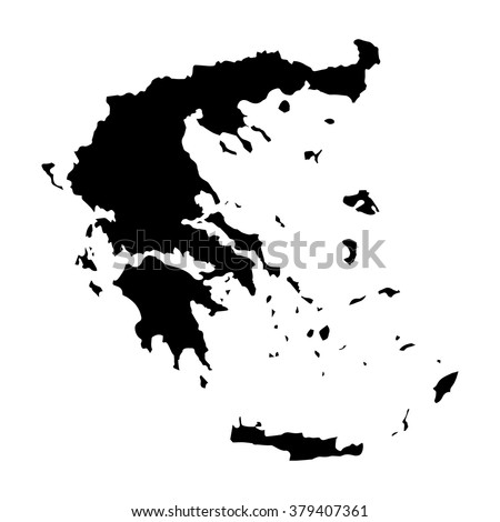 Vector map Greece. Isolated vector Illustration. Black on White background. EPS Illustration. - stock vector