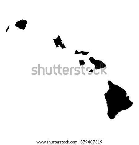 Vector map Hawaii. Isolated vector Illustration. Black on White background. EPS Illustration.
