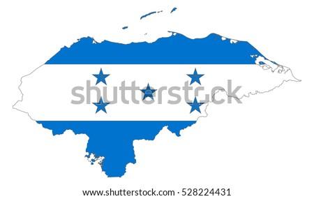 Map Flag Honduras Stock Vector Shutterstock - Honduras country political map