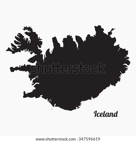 Vector map Iceland. Gray Vector Illustration. Isolated vector Illustration. Black on Grey background with an inscription Iceland. EPS Illustration.