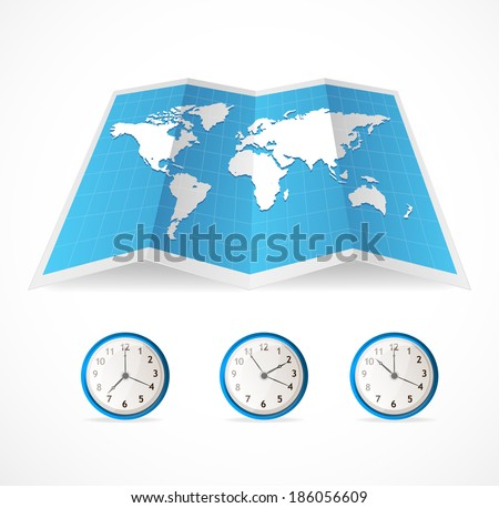Vector map icon and world time clocks illustration - stock vector
