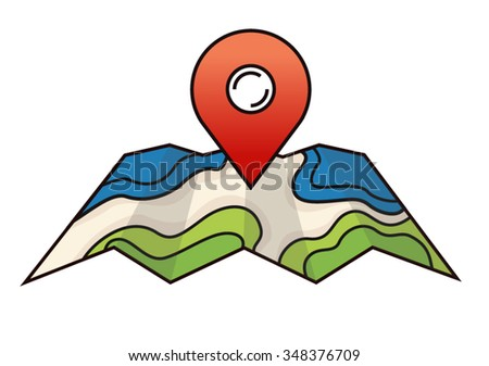Vector map icon with Pin Pointer in flat style - stock vector