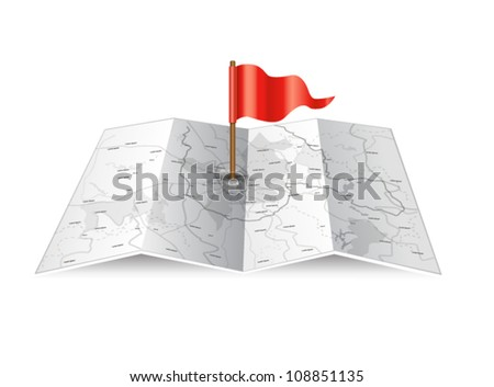 Vector map icon with red flag - stock vector