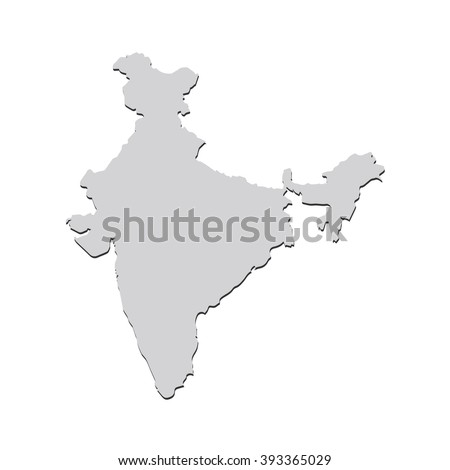 Vector map India. Isolated vector Illustration. Gray on White background. With shadow. EPS 10 Illustration. - stock vector