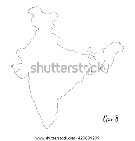 Vector map India. Outline map. Isolated vector Illustration. Black on White background. EPS 8 Illustration. - stock vector