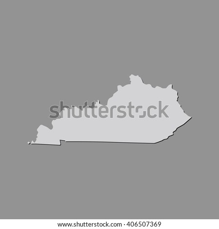 Vector map Kentucky. Gray Isolated vector Illustration. On Grey background. With shadow. EPS 10 Illustration. - stock vector