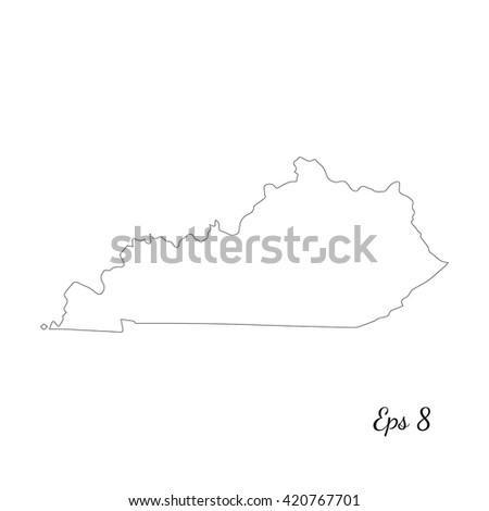 Vector map Kentucky. Outline map. Isolated vector Illustration. Black on White background. EPS 8 Illustration. - stock vector