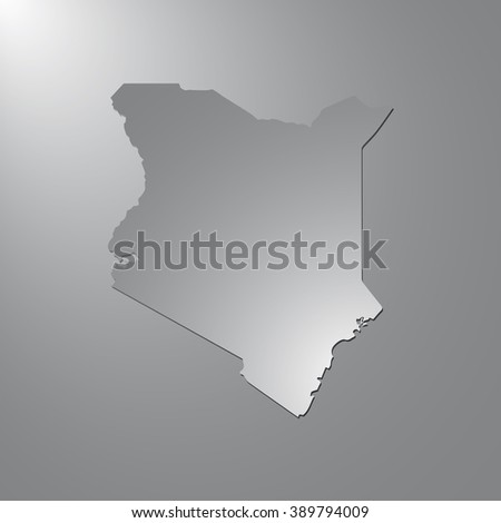 Vector map Kenya. Gray background with gradient. Isolated vector Illustration. Gray on Gradient background. With shadow. EPS Illustration. - stock vector