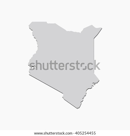 Vector map Kenya. Gray Isolated vector Illustration. On Grey background. With shadow. EPS 10 Illustration. - stock vector