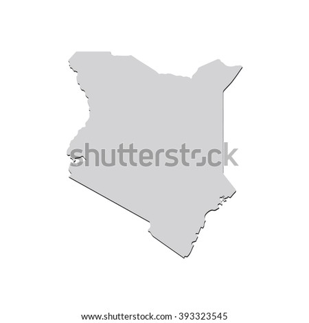 Vector map Kenya. Isolated vector Illustration. Gray on White background. With shadow. EPS 10 Illustration. - stock vector