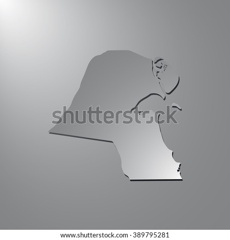 Vector map Kuwait. Gray background with gradient. Isolated vector Illustration. Gray on Gradient background. With shadow. EPS Illustration. - stock vector