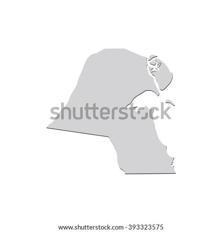 Vector map Kuwait. Isolated vector Illustration. Gray on White background. With shadow. EPS 10 Illustration. - stock vector