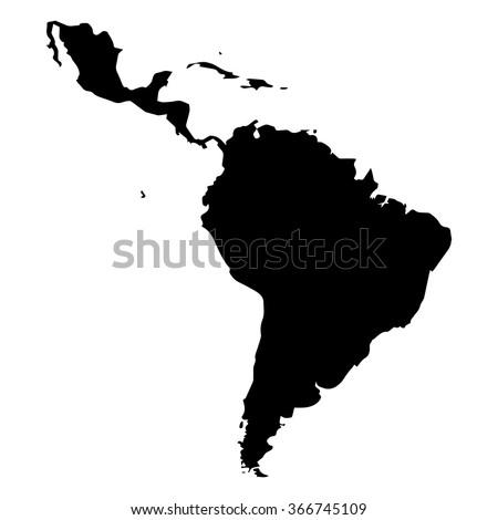Vector map Latin America. Isolated vector Illustration. Black on White background. EPS Illustration. - stock vector
