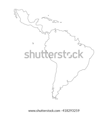 Vector Map Latin America Gray Background Stock Vector - Blank map of central and south america